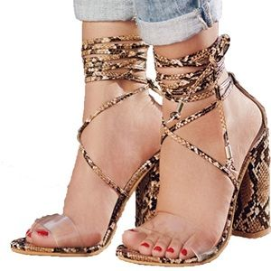 Chunky High Heel Pump Strappy Shoes More Opt.